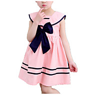 Kids Girls' Simple / Casual Daily / School Solid Colored / Striped Bow / Pleated Sleeveless Cotton Dress Blue