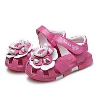 baratos Sapatos de Menina-Para Meninas Sapatos Couro Verão Conforto Sandálias Flor / Velcro para Branco / Pêssego
