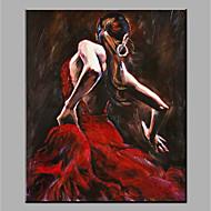 billiga Människomålningar-Hang målad oljemålning HANDMÅLAD - Abstrakt / Människor Moderna Utan innerram / Valsad duk