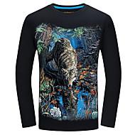 Veći konfekcijski brojevi Majica s rukavima Muškarci-Aktivan Dnevno Pamuk Životinja Okrugli izrez Slim