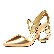 baratos Sapatos Femininos-Mulheres Sapatos Courino Primavera / Outono Conforto Tamancos e Mules Salto Robusto Dedo Fechado Preto / Prata / Champanhe