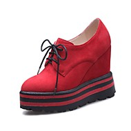 cheap Women's Oxfords-Women's Shoes Nubuck leather Spring Fall Ankle Strap Comfort Oxfords Creepers Round Toe for Casual Party & Evening Black Red