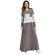 Women's Daily Basic Boho Maxi A Line Loose Dress - Striped Spring Gray L XL XXL