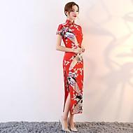 Cosplay Kjoler Party-kostyme Blyantkjole A-Line Dress Dame Uniformer og Cheongsam-kjoler Kinesisk Stil Festival / høytid Bomull Drakter Blå / Rosa / Rød Blomster / botanikk