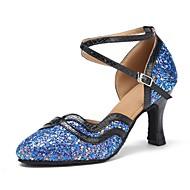 billige Moderne sko-Dame Moderne sko Glimtende Glitter / Kunstlær Sandaler / Høye hæler Kustomisert hæl Kan spesialtilpasses Dansesko Blå / Profesjonell