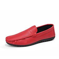 baratos Sapatos Masculinos-Homens Pele Primavera / Outono Conforto Mocassins e Slip-Ons Caminhada Condutores de Eletricidade Branco / Preto / Laranja
