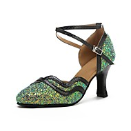 billige Kustomiserte dansesko-Dame Moderne sko Glimtende Glitter / Kunstlær Sandaler / Høye hæler Kustomisert hæl Kan spesialtilpasses Dansesko Grønn / Profesjonell