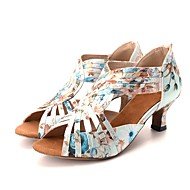 baratos Sapatilhas de Dança-Mulheres Sapatos de Dança Latina / Sapatos de Dança Moderna Cetim com Stretch Sandália / Salto Flor Salto Carretel Personalizável Sapatos