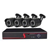 billige AHD-sæt-4 ch sikkerheds system med 4ch 1080n ahd dvr 4stcs 1.0mp vejrbestandige kameraer med nattesyn