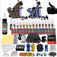 billige Tatoveringssett for nybegynnere-Starter Tatoveringssett 2 x legering tatovering maskin for fôr og skyggelegging Tattoo Machine Mini strømforsyning 14 x 5 ml Tattoo blekk