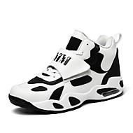 baratos Sapatos Masculinos-Homens Pele Primavera / Outono Conforto Tênis Basquete Branco / Preto
