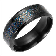 Herre Band Ring / Statement Ring - Titanium Stål Drage Europæisk 6 / 7 / 8 Guld / Sort / Blå Til Daglig