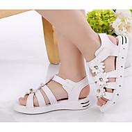 baratos Sapatos de Menina-Para Meninas sapatos Couro Ecológico Verão Sapatos para Daminhas de Honra Conforto Sandálias para Casual Branco Pêssego Rosa claro