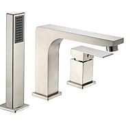 ก๊อกอ่างอาบน้ำ - ร่วมสมัย / ของโบราณ Nickel Brushed อ่างโรมัน Ceramic Valve Bath Shower Mixer Taps / จับสองสามหลุม