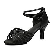 baratos Sapatilhas de Dança-Mulheres Sapatos de Dança Latina Seda Salto Salto Personalizado Personalizável Sapatos de Dança Preto / Interior / Ensaio / Prática