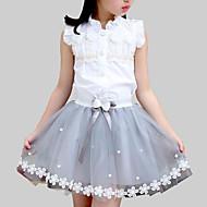 Děti Dívčí Cute Style Denní Škola Květinový Patchwork Krajka Bez rukávů Standardní Umělé hedvábí Polyester Sady oblečení Bílá
