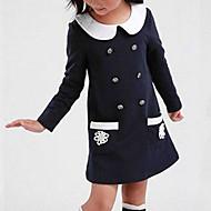 Djevojka je Pamuk Kolaž Proljeće Jesen Dugih rukava Haljina Red Navy Plava