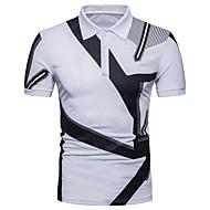 สำหรับผู้ชาย เสื้อเชิร์ต พื้นฐาน ฝ้าย คอเสื้อเชิ้ต ลายบล็อคสี / แขนสั้น