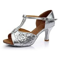 baratos Sapatilhas de Dança-Mulheres Sapatos de Dança Latina Cetim / Courino Sandália / Salto Recortes Salto Personalizado Personalizável Sapatos de Dança Prata