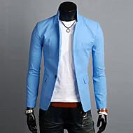 זול -פשתן בגדי ריקוד גברים ירוק כחול כחול בהיר בלייזר פשוט / יום יומי אחיד דש קלאסי / שרוול ארוך / אביב / סתיו / עבודה