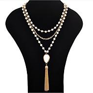 Dame Perle Lyserød Kvast Lasso Erklæring Halskæder / Perlehalskæde - Perle Tassel, Mode Hvid, Sort Halskæder Smykker Til Fest, Speciel Lejlighed, Fødselsdag