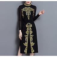 Χαμηλού Κόστους -Γυναικεία Μεγάλα Μεγέθη Εξόδου Βίντατζ Βαμβάκι Εφαρμοστό Φόρεμα - Συμπαγές Χρώμα Κέντημα, Δίχτυ Σκίσιμο Μίντι Όρθιος Γιακάς