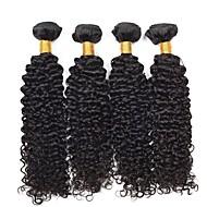 4 pakker Brasiliansk hår Krøllet Menneskehår Hårforlængelse af menneskehår Naturlig Farve Menneskehår Vævninger Ekstention / Hot Salg Menneskehår Extensions Alle