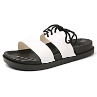 tanie Small Size Shoes-Męskie Buty Skórzany Lato Lekkie podeszwy Mary Jane Sandały Klamra na Casual White Black