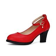 billige Moderne sko-Dame Moderne Syntetisk Mikrofiber PU Høye hæler utendørs Tykk hæl Svart Sølv Rød 2 - 2 3/4inch Kan spesialtilpasses