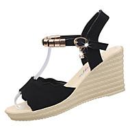 abordables Zapatos y Bolsos-Mujer Zapatos PU Verano Confort Sandalias Tacón Cuña Dedo redondo Pedrería Negro / Verde / Borgoña / Tacones de cuña