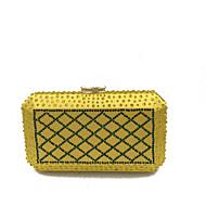 baratos Clutches & Bolsas de Noite-Mulheres Bolsas Cetim / Metal Bolsa de Festa Detalhes em Cristal Prata / Roxo / Amarelo