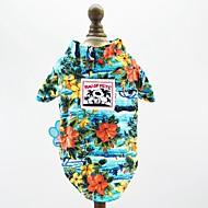 Psy Koty Zwierzęta domowe T-shirt Ubrania dla psów Kwiatowy / Roślinny Kształt listka Kwiat Fuksja Czerwony Niebieski Bawełna / Poliester Kostium Na Dalmatyńczyk Szpic japoński Beagle Wiosna Lato