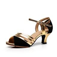 baratos Sapatilhas de Dança-Mulheres Sapatos de Dança Latina Camurça Salto Salto Personalizado Personalizável Sapatos de Dança Dourado / Prata / Interior