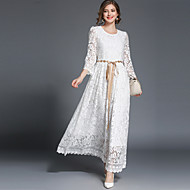 Mulheres Vintage Moda de Rua balanço Vestido - Renda, Sólido Longo