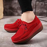 Žene Cipele PU Proljeće Jesen Udobne cipele Sneakers Ravna potpetica za Crn Sive boje Crvena Plava