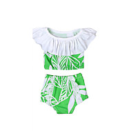 billige Badetøj-Pige Vintage Sexet Trykt mønster Badetøj, Bomuld Akryl Uden ærmer Grøn