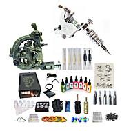 baratos Kits de Tatuagem para Iniciantes-Máquina de tatuagem Conjunto de Principiante - 1 pcs máquinas de tatuagem com 7 x 15 ml tintas de tatuagem, Velocidades variáveis, Profissional, Ajustável LCD de alimentação No case 1 x esculpida