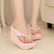 baratos Sapatos Femininos-Mulheres Sapatos Couro Ecológico Primavera / Verão Conforto / Inovador Sandálias Salto Plataforma Ponteira Laço Branco / Preto / Rosa