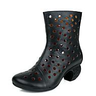 tanie Obuwie damskie-Damskie Obuwie Skórzany Nappa Leather Wiosna Jesień Modne obuwie Buciki Gruby obcas na Casual Black Khaki