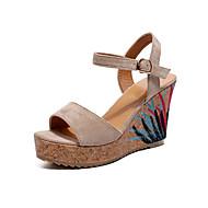 baratos Sapatos Femininos-Mulheres Sapatos Couro Ecológico Verão Conforto / Solados com Luzes Sandálias Salto Plataforma Dedo Aberto Presilha Preto / Verde / Khaki