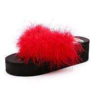 tanie Obuwie damskie-Damskie Obuwie Pióra /  futro Wiosna Comfort Klapki i japonki Creepersy Okrągły Toe Pióra na Casual Black Gray Peach Czerwony