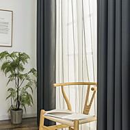 billige Mørkleggingsgardiner-Blackout Gardiner Stue Ensfarget Bomull / Polyester Garn Bleket