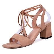 baratos Sapatos Femininos-Mulheres Sapatos Couro Ecológico Primavera / Verão Conforto Sandálias Salto Robusto Ponta quadrada Preto / Bege / Vermelho / Com Laço