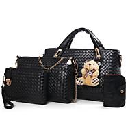 お買い得  バッグ-女性用 バッグ PU バッグセット 4個の財布セット ベア ブラック / ルビーレッド / キャメル