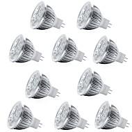 billige Spotlys med LED-10pcs 4W 400lm MR16 LED-spotpærer 4 LED perler Høyeffekts-LED Dekorativ Varm hvit Kjølig hvit 12V