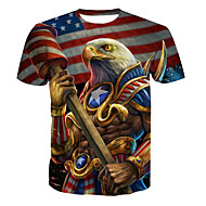 男性用 プラスサイズ Tシャツ ベーシック ラウンドネック 動物 コットン / 半袖 / ロング