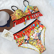 Dame Boheme Stropløs Bikini - Blomstret, Åben ryg Høj Talje