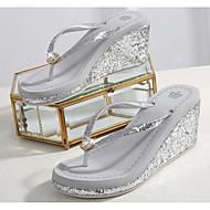 cheap Women's Slippers & Flip-Flops-Women's Shoes PU Summer Comfort Slippers & Flip-Flops Wedge Heel for Black Silver Pink