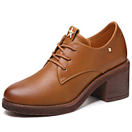 cheap Women's Oxfords-Women's Shoes Synthetic Microfiber PU Spring / Fall Gladiator / Basic Pump Oxfords Chunky Heel Black / Brown