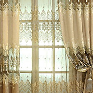Sheer Curtains Shades Living Room Geometric Contemporary Cotton / Polyester  Jacquard